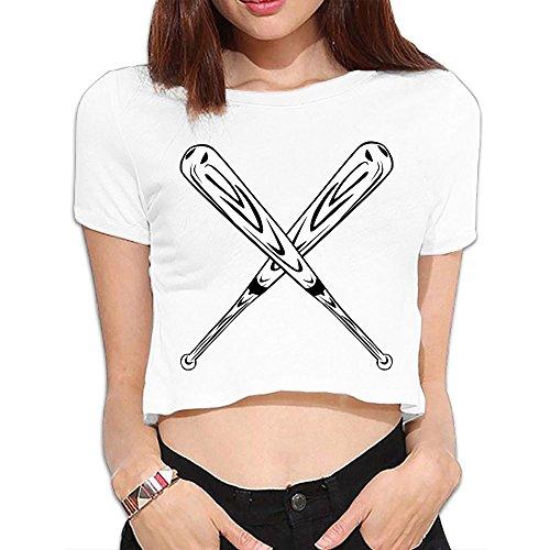 SARA NELL Women's Juniors Baseball Bat Crop Top T-Shirt Tees White (Baseball Bamboo Classic Bat)