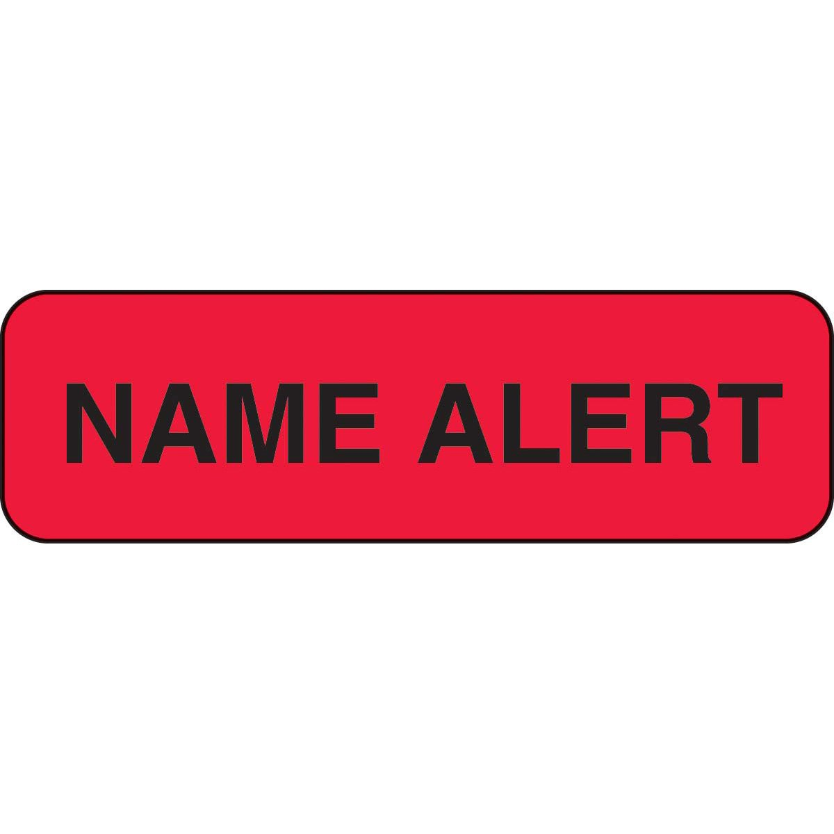 PDC Healthcare 59702039 Paper Label, Fluorescent Red Label with Black Text,''Permanent Name Alert'', 1.25'' Width x 0.375'' Length (Roll of 1000)