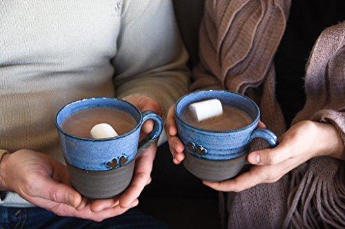 Blue Ceramic Coffee Mug, SET OF TWO, Two Cups, Pair handmade Mug, 2 Coffee Cup, Stoneware Tea Cup, Ceramic And Pottery, handmade pottery, ceramic and pottery, gift for lovers, pottery mug, blue by Pottery by Einav Braun