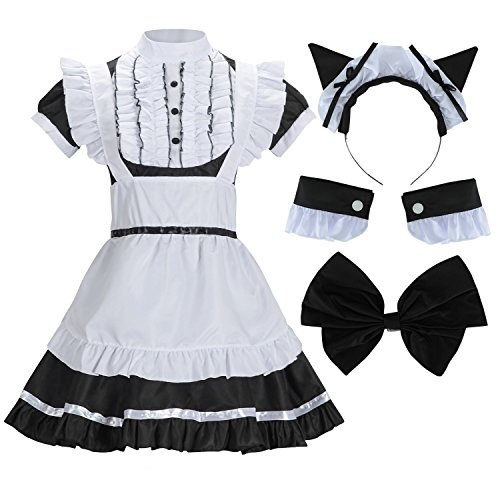 Sheface Women's French Maid Lolita Dress with Cat Ear Costume (X-Large, Black)