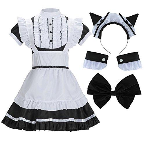 Sheface Women's French Maid Lolita Dress with Cat Ear Costume (Medium, Black) ()