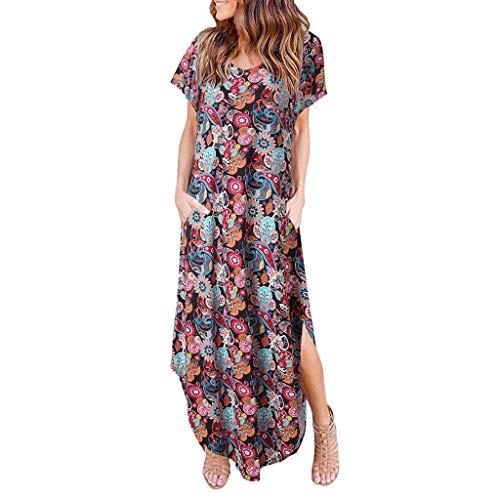 Women Short Sleeve Loose Plain Maxi Dresses Casual Long Dresses with Pockets Bohemian Split Skirt