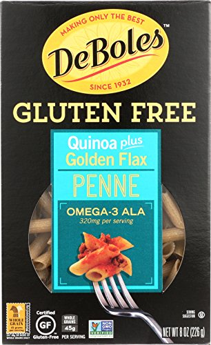 DeBoles Gluten-Free Quinoa Pasta, Penne Plus Golden Flax, 8 Ounce (Pack of 12) Deboles Gluten Free Rice