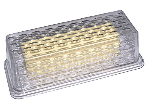 CLEAR PLASTIC BUTTER DISH FOR COUNTER WITH LID TEXTURED SINGLE STICK BUTTER DISH