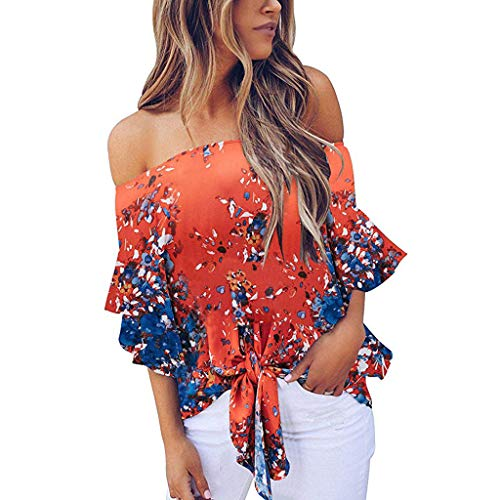 Sharemen Womens Off Shoulder Floral Tops Tie Front High Low Long Sleeve Chiffon Blouse T (Mustang Ford Tie)