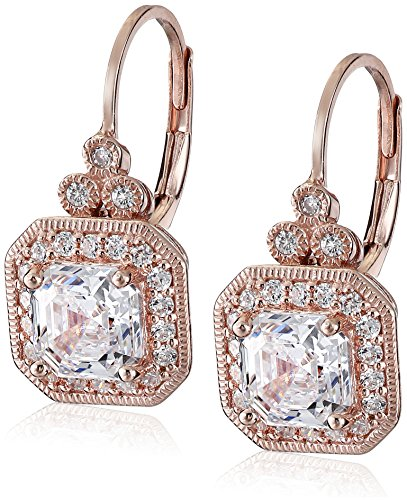 Rose Gold Plated Sterling Silver Antique Drop Earrings set with Asscher Cut Swarovski Zirconia ()