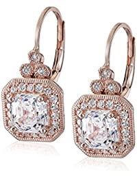 Platinum or Gold-Plated Sterling Silver Swarovski Zirconia Asscher-Cut Antique-Style Drop Earrings