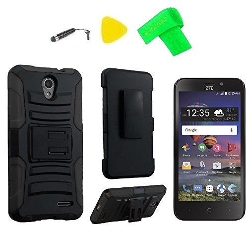 Holster Clip Hybrid Cover Case Cell Phone Accessory + Screen Protector + Extreme Band + Stylus Pen + Pry Tool For ZTE ZFive2 ZFive 2 Z837VL Z836B ZTE 828 (Holster -