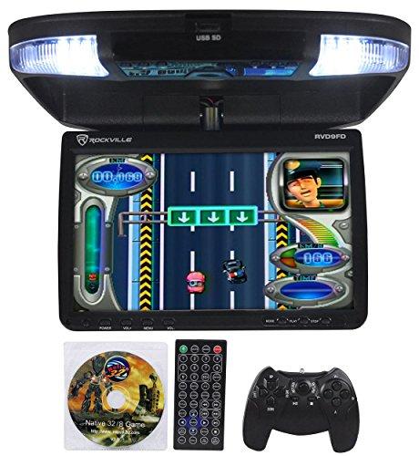 Rockville RVD9FD-BK 9″ TFT Black Flip Down Car DVD Monitor w/USB/SD/Video Games