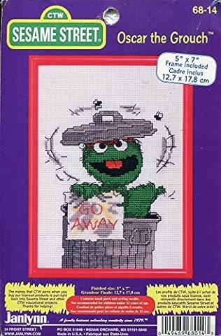 Sesame Street Oscar the Grouch Counted Cross Stitch Kit with Frame (Sesame Street Cross Stitch)