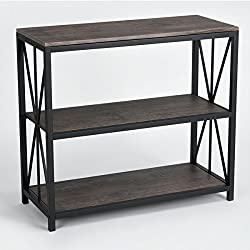 Vintage Dark Brown Black Metal Frame 3-tier Console Table Bookcase Bookshelf