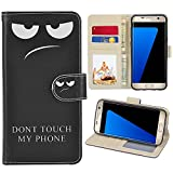 RusseryPek Galaxy S7 Case, Samsung Galaxy S7 Wallet Case, Premium PU Leather Wristlet Flip Case Cover with Card Slots & Stand for Galaxy S7 - Don't Touch