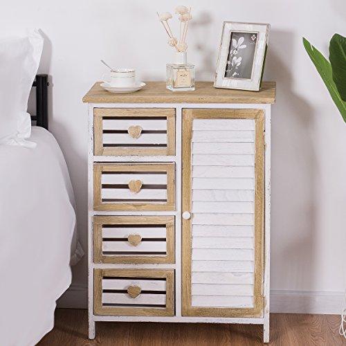 Giantex Wooden Free Standing Bathroom Storage Cabinet 4 Bin-Type Drawers Storage Chest Cupboard