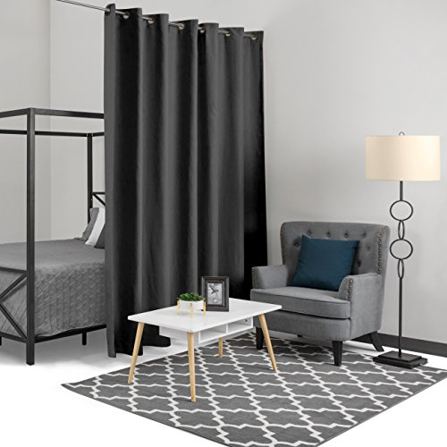 Best Choice Products 10x8ft Heavyweight Multi-Purpose Privacy Blackout Room Divider Curtain w/Grommet Rings - Black