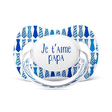 Suavinex Chupete diseño Je T Aime Papa corbata azul 0/6 ...