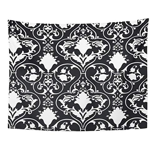 Tapestry Fleur Antique Scroll Lis Black White Damask Home Decor Wall Hanging for Living Room Bedroom Dorm 60x80 inches
