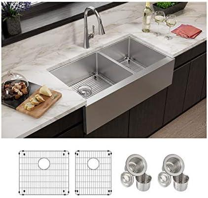 Elkay EFRUFF23417DBG Kitchen Sink, 10 Apron Farmhouse, Polished Satin