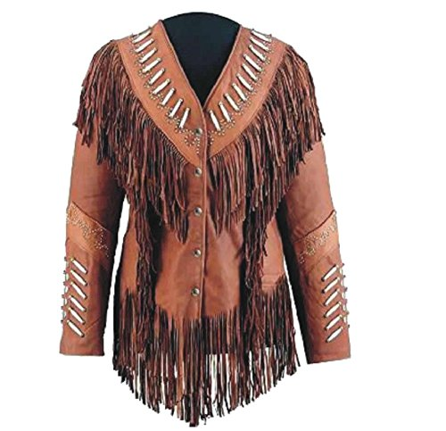 Classyak Women's Western Real Leather Jacket With Beads and Fringes Brown X-Large