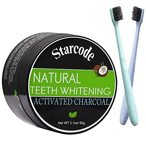 Activated Charcoal Teeth Whitening Teeth whitener of Natural Organic Coconut Shells Activated Charcoal Tooth Powder for Oral Health Proven Safe For Enamel With Soft Wheat Straw Toothbrush