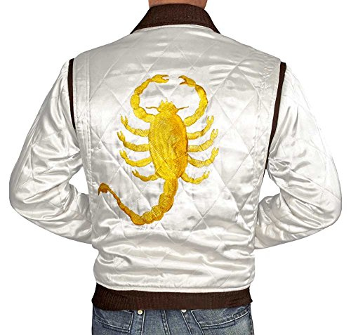 (Mens White Satin Jacket - Golden Scorpion Logo Quilted Jacket for Men)