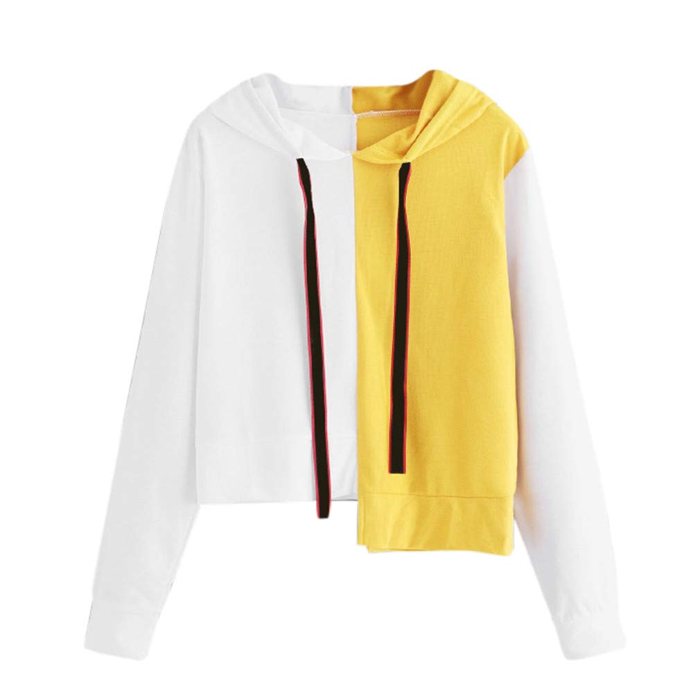Simayixx Sweatshirts for Women Fashion White & Yellow Patchwork Hoodie Pullover Casual Long Sleeve Crop Tops
