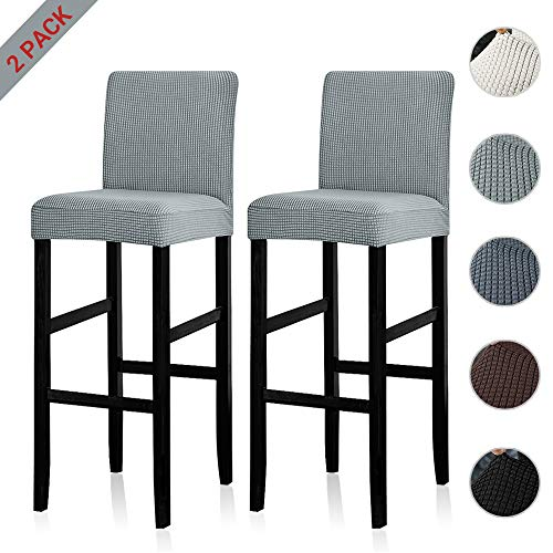 Lellen Reusable Pub Counter Stool Chair Covers Slipcover Stretch Removable Washable Dining Room Chair Covers(Lightgrey,2PC)