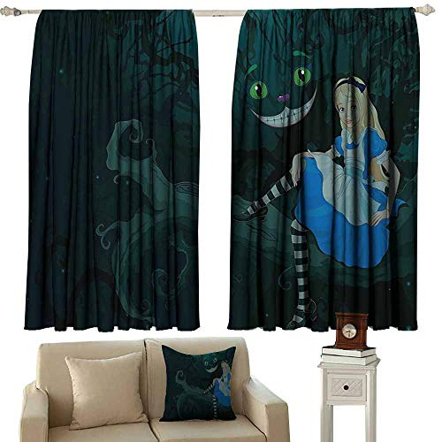 Sunnyhome Waterproof Window Curtain,Alice in Wonderland Decorations Alice Sitting on Branch with Chescire Cat in Darkness Striped Cartoon Love,Curtains for Living Room,W63x45L Inches,Multi -
