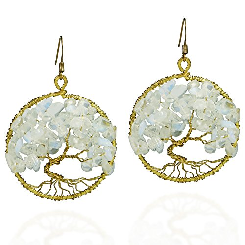 Eternal Tree of Life Simulated Moonstone Branch Brass Dangle Fish Hooks Earrings