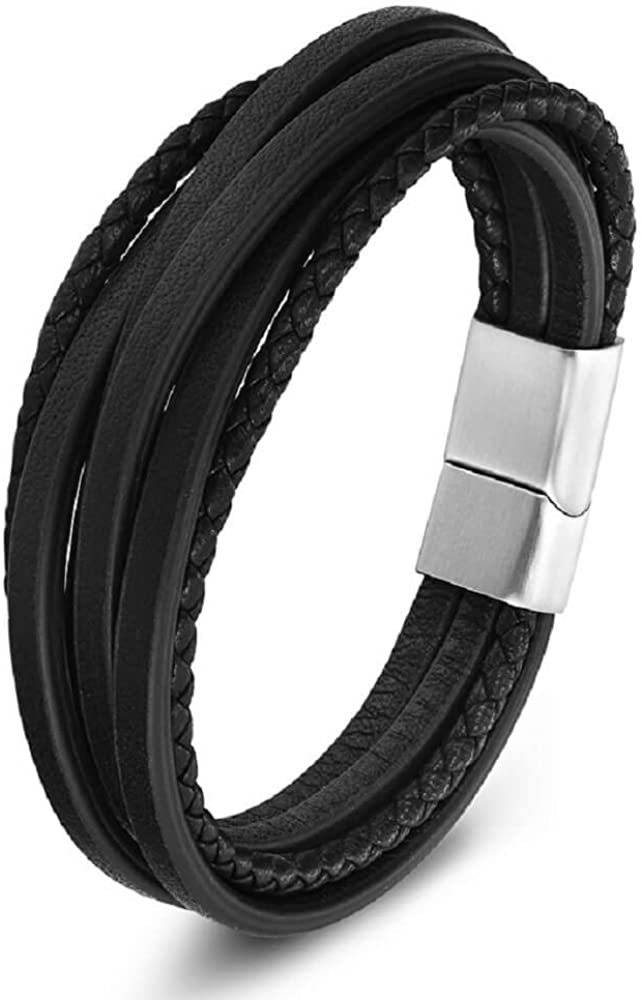 Zen Styles Men's Leather Bracelet, Braided Multi-Layered Cuff with Stainless Steel Magnetic Clasp, Genuine Premium Quality, Includes Custom Gift Box