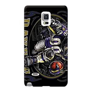 Shock Absorption Hard Cell-phone Cases For Samsung Galaxy Note 4 (ypP1222ZLxF) Unique Design Beautiful Baltimore Ravens Pattern