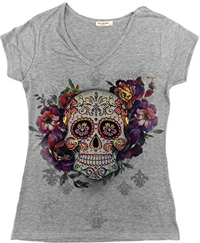 Sweet Gisele Sugar Skull Shirts for Women | V Neck T Shirt Tee | Beautiful Print Decorated with Rhinestones