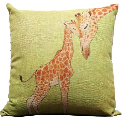 er Throw Pillow Case Decor Cushion Covers Square 1818 Inch Beige Cotton Blend Linen (Multi-color) (Giraffe Pillow)