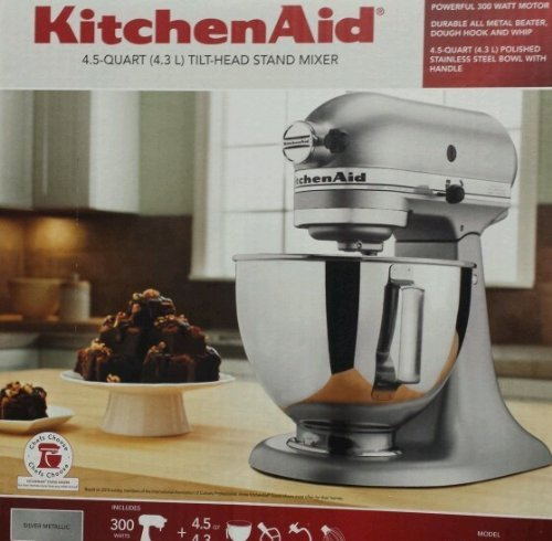 Kitchenaid Tilting Stand Mixer Tilt 4.5 Quart Ksm85pbsm All Metal Housing  And Gears Silver Metallic