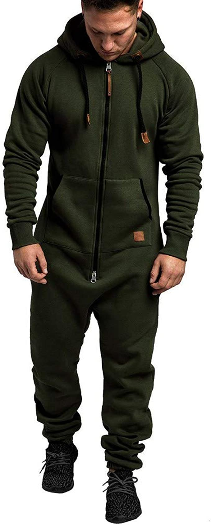 NEW MENS HOODED SUIT ALL IN ONE JUMPSUIT ONE PIECE SUIT M L XL XXL