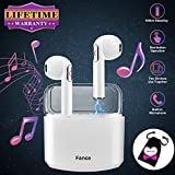 Wireless Earbuds,Bluetooth Earburds Stereo, Wireless Earphones with Mic Mini in-Ear Earbuds Earphones Earpiece Sweatproof Sports Earbuds with Charging Case Compatible iOS Android Smartphones (White)