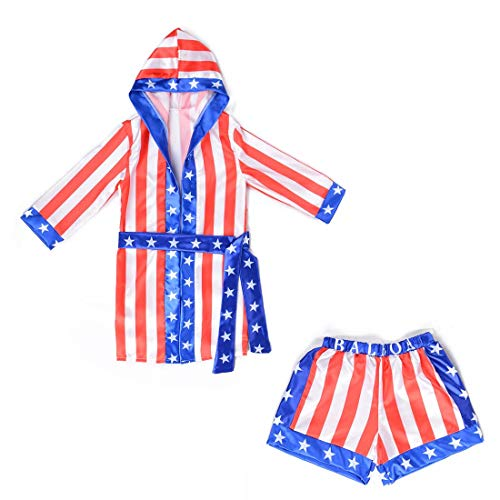 Boys Boxing Champion Costume Hooded Boxing Robe Set Kids Halloween Fancy Dress (American Flag Robe + Shorts, -
