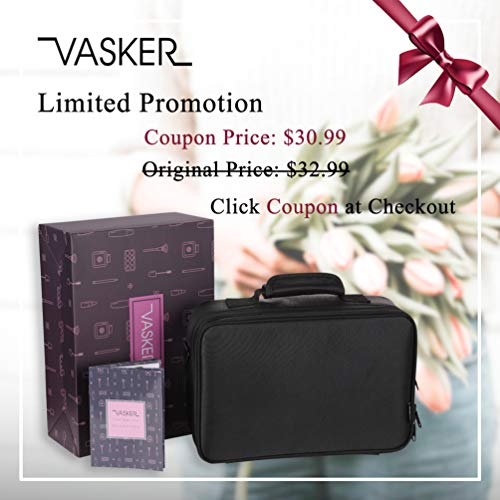 35bda32b195b VASKER 3 Layers Waterproof Makeup Bag Travel Cosmetic Case Professional  Portable Makeup Train Cases Organizer Brush Holder with Adjustable Divider  ...