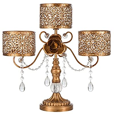 "'Victoria Collection' 3 Pillar Candle Holder with Crystal Dangles, L15.75"" X H14.5"""