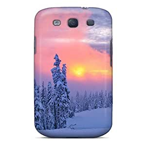 First-class Case Cover For Galaxy S3 Dual Protection Cover Pink Winter Sunset