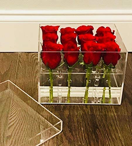 Acrylic Flower Box for 12 Flowers- FITS a Dozen Roses, Tulips ect. Perfect Table Centerpiece- Valentines Day Bouquet