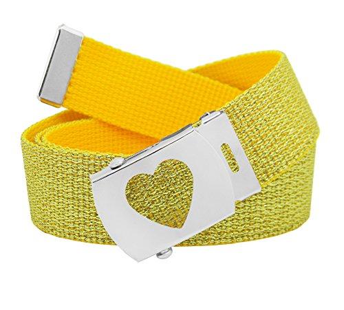 Girl's School Uniform Silver Slider Heart Belt Buckle with Canvas Web Belt Small Glitter Gold