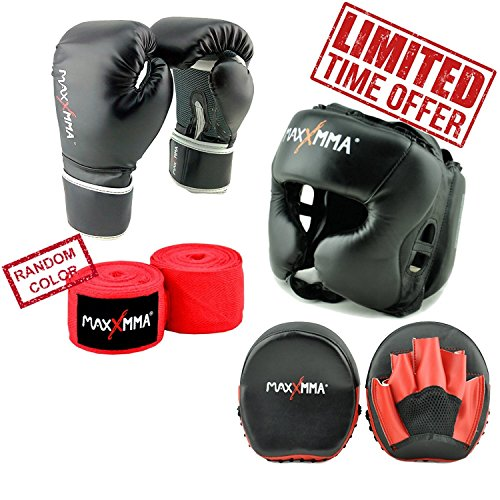 "MaxxMMA Pro Style Boxing Gloves 12,14,16 oz + Black Headgear + Micro Mitts +180"" Nylon/Poly Hand Wrap in Random Color (14 oz)"