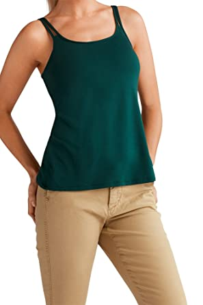 45a259a7e4 Amoena Women s Valletta Camisole W Built in Shelf Bra Forest Green at  Amazon Women s Clothing store
