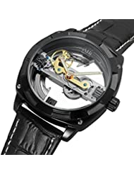GuTe Mens Automatic Watch,Steampunk Black Plated Self Winding Mechanical Wristwatch Black Leather Band (Black)