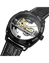 Gute Men's Automatic Watch,Steampunk Black Plated Self Winding Mechanical Wristwatch Black Leather Band (Black)
