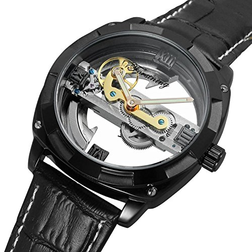 Gute Men's Automatic Watch,Steampunk Black Plated Self Winding Mechanical Wristwatch Black Leather Band