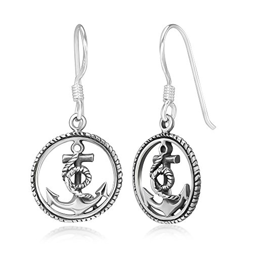 925 Stelring Silver Anchor Navy Sailor Symbol Rope Wheel Round Dangle Hook Earrings 1.1