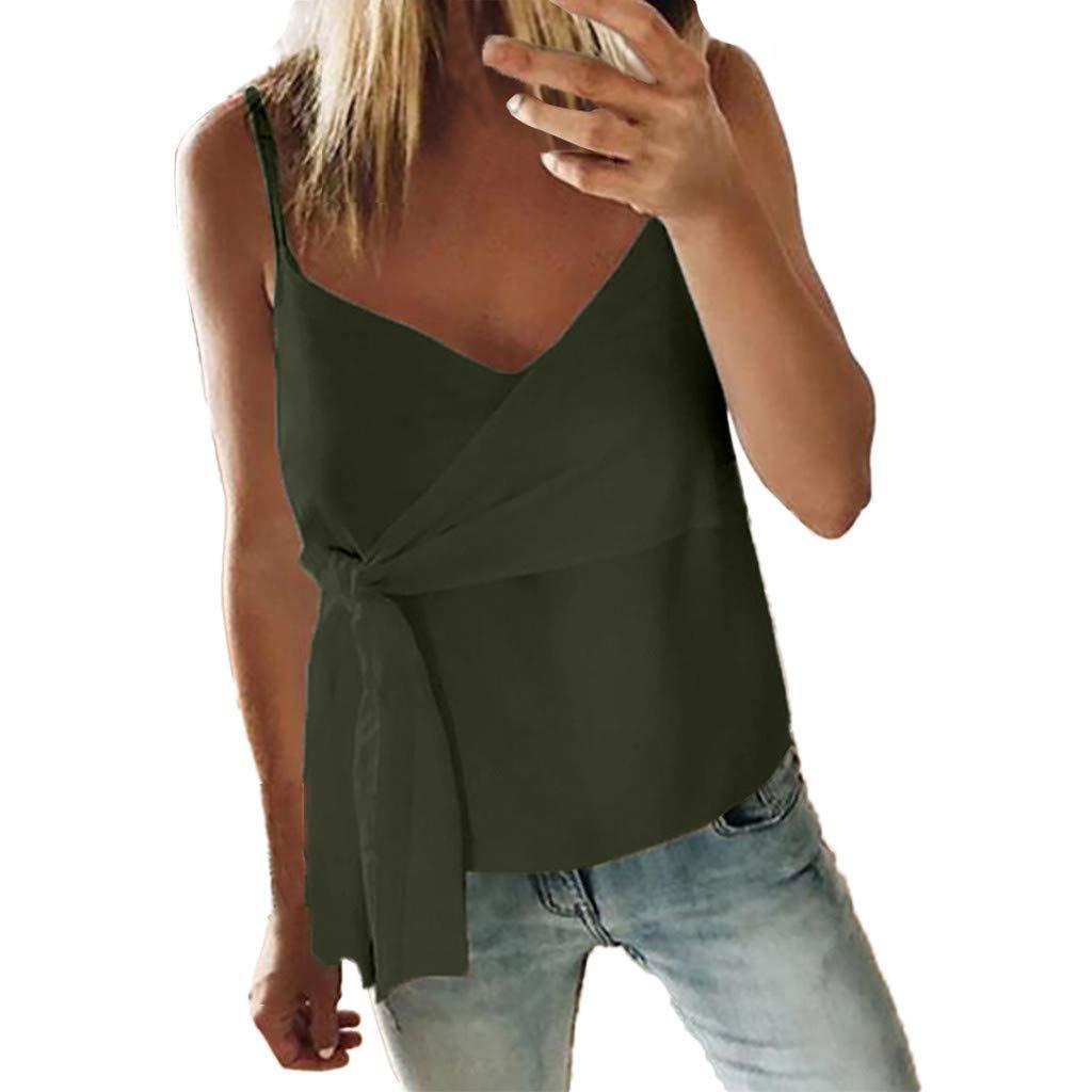 Blouses for Women Fashion 2019,YEZIJIN Women Summer Fashion Casual Camis Sleeveless Crop Ruffle Solid Bandage Tops Army Green