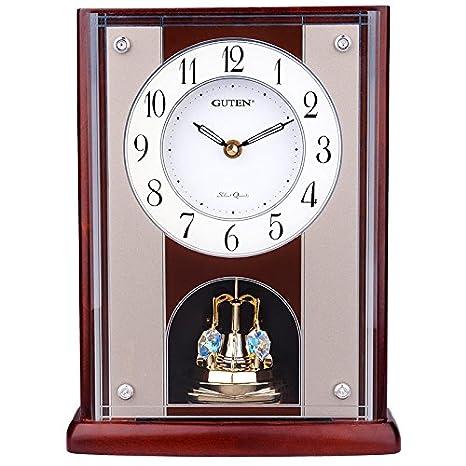 Y-Hui el Reloj en el Salón Dormitorio Oficina Reloj de sobremesa de Madera Sólida Todo el Punto de cronometraje,Relojes de Péndulo de Madera 28cm GD413.