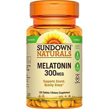 (2 Pack) Sundown Naturals Melatonin, 300 mcg, Tablets, 120 tablets by